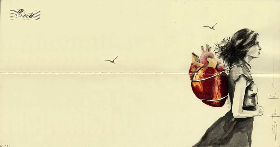 coração nas costas
