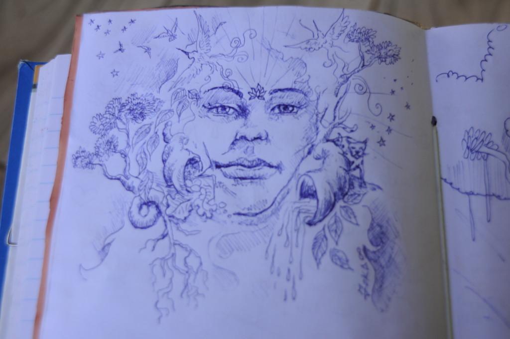 Desenho que o artista artesão bicho bom Joka Cândido deixou no caderno que o amigo Miguel Angel aprendeu a fazer artesanalmente com ele. Pachamama.