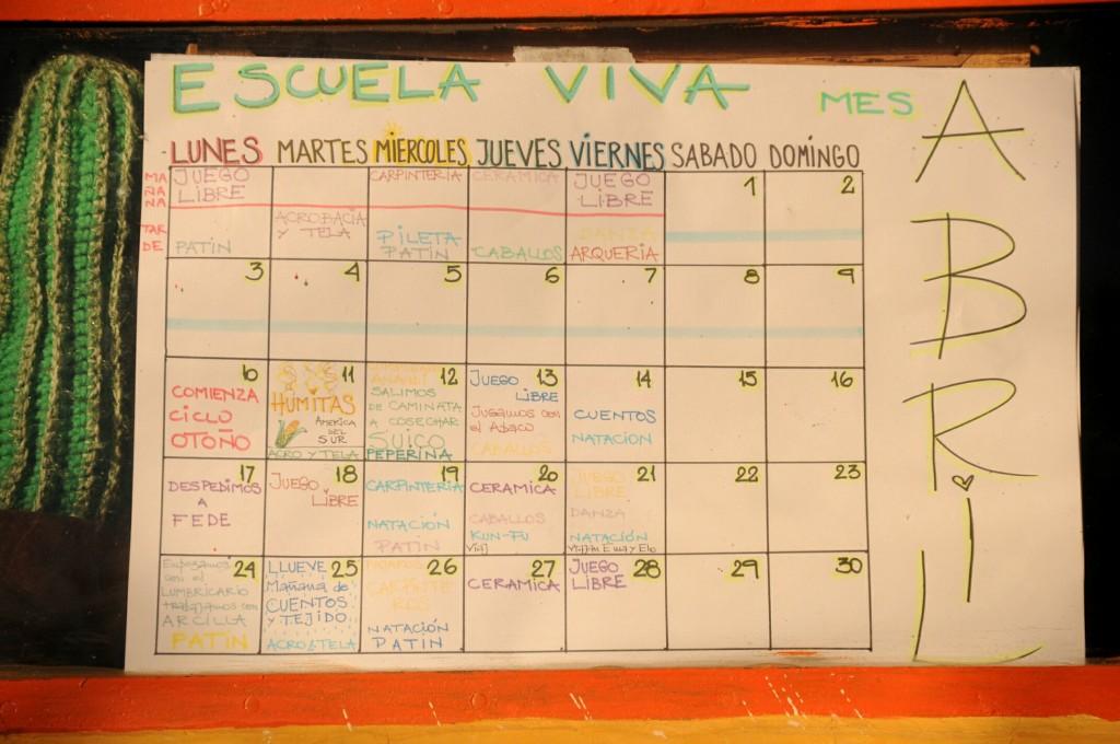 Cronograma de atividades da escola.
